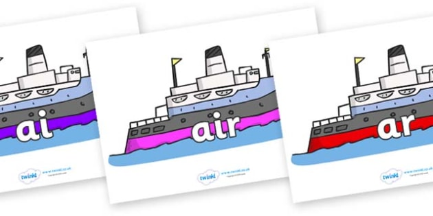 Phase 3 Phonemes on Boats - Phonemes, phoneme, Phase 3, Phase three, Foundation, Literacy, Letters and Sounds, DfES, display