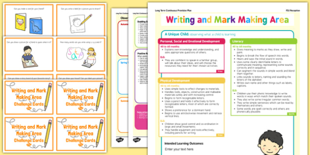 Writing and Mark Making Area Continuous Provision Plan Poster and Challenge Cards Pack Reception FS2