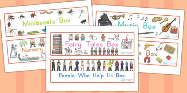Editable Topic Box Labels - box labels, labels, signs, box signs