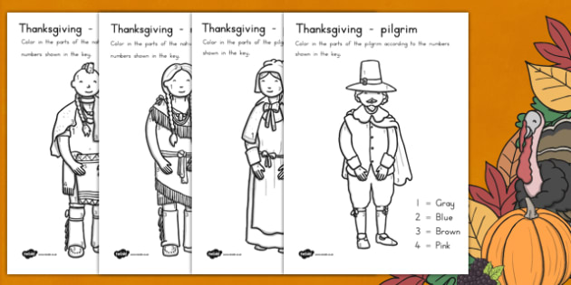 Thanksgiving Color by Number USA - colors, numbers, worksheet