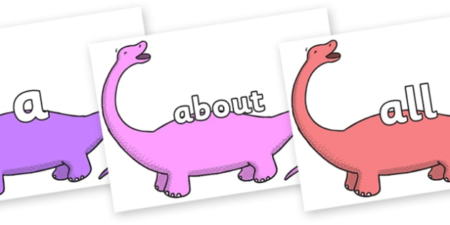 100 High Frequency Words on Apatosaurus to Support Teaching on Harry and the Bucketful of Dinosaurs - High frequency words, hfw, DfES Letters and Sounds, Letters and Sounds, display words