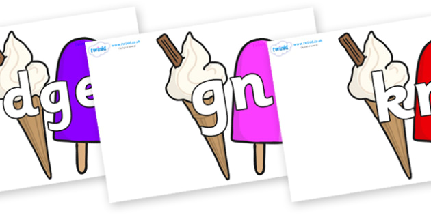 Silent Letters on Ice Cream and Lollies - Silent Letters, silent letter, letter blend, consonant, consonants, digraph, trigraph, A-Z letters, literacy, alphabet, letters, alternative sounds