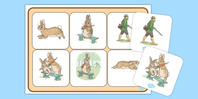 Beatrix Potter - The Story of a Fierce Bad Rabbit Matching Mat - beatrix potter, fierce, bad, rabbit