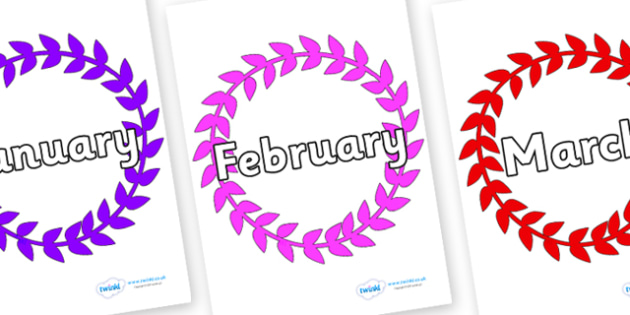 Months of the Year on Wreaths - Months of the Year, Months poster, Months display, display, poster, frieze, Months, month, January, February, March, April, May, June, July, August, September