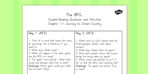 Guided Reading Questions Chapter 11 to Support Teaching on The BFG - australia, bfg, guided reading