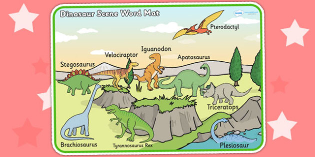 Dinosaur Scene Word Mat - dinosaurs, word mat, keywords, words