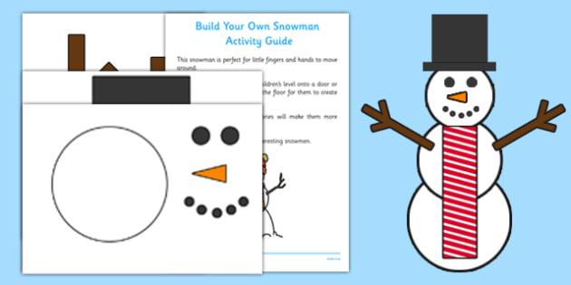 Build Your Own Snowman Activity Pack - Snowman, EYFS, Craft, build, activity, pack