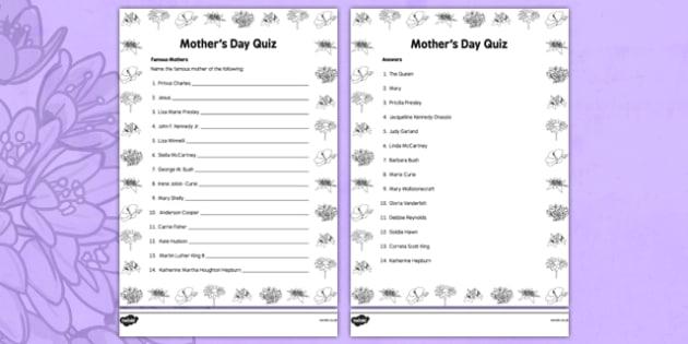Elderly Care Mother's Day Quiz - Elderly, Reminiscence, Care Homes, Mother's Day, activity, memory