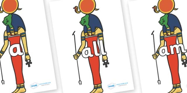 Foundation Stage 2 Keywords on Egyptian God - FS2, CLL, keywords, Communication language and literacy,  Display, Key words, high frequency words, foundation stage literacy, DfES Letters and Sounds, Letters and Sounds, spelling