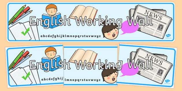 English Working Wall Banner - english, working wall, banner, display