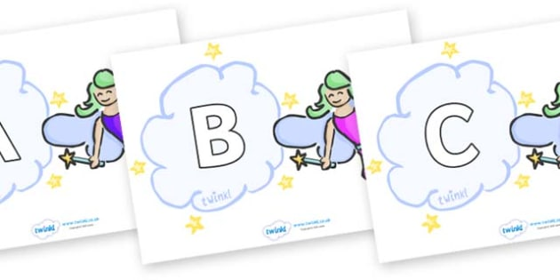 A-Z Alphabet on Fairies (Multicolour) - A-Z, A4, display, Alphabet frieze, Display letters, Letter posters, A-Z letters, Alphabet flashcards