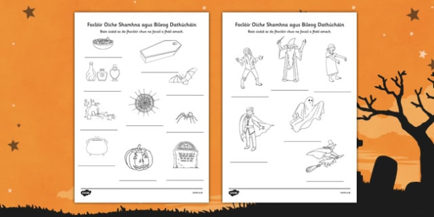 Irish Halloween Dictionary Work Colouring Sheet - roi, irish, republic of ireland, halloween