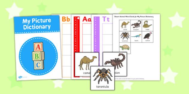 Desert Animals Picture Dictionary Word Cards - desert, animals
