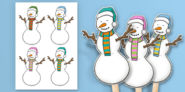 Snowman Stick Puppets - snowman, stick puppets, stick, puppets, role play, activity