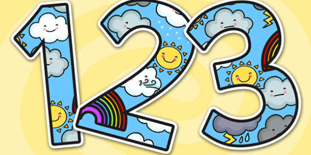Weather Themed A4 Display Numbers-the weather, A4, display numbers, numbers for display, weather themed numbers, weather numbers