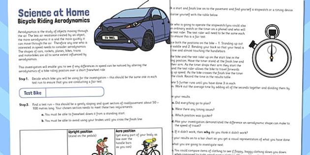 Bicycle Riding Aerodynamics Activity Sheet - activity sheet, bike, worksheet