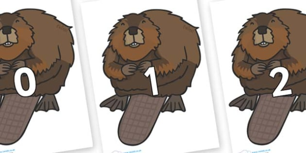 Numbers 0-50 on Beavers - 0-50, foundation stage numeracy, Number recognition, Number flashcards, counting, number frieze, Display numbers, number posters