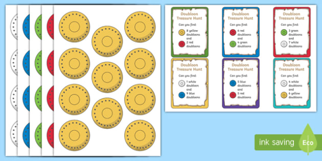 Doubloon Treasure Hunt Counting to 11 - doubloon treasure hunt, counting to 10, number bonds, number bonds to 10, doubloon number bonds,