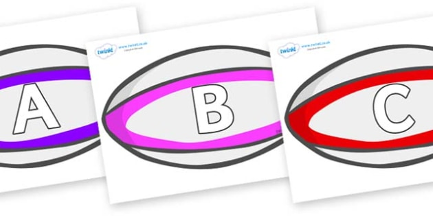A-Z Alphabet on Rugby Balls - A-Z, A4, display, Alphabet frieze, Display letters, Letter posters, A-Z letters, Alphabet flashcards