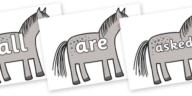 Tricky Words on Horse to Support Teaching on What the Ladybird Heard - Tricky words, DfES Letters and Sounds, Letters and sounds, display, words