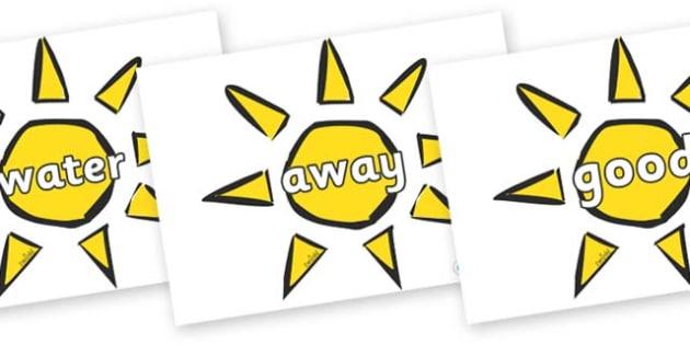 Next 200 Common Words on Weather Symbols (Sun) - Next 200 Common Words on  - DfES Letters and Sounds, Letters and Sounds, Letters and sounds words, Common words, 200 common words