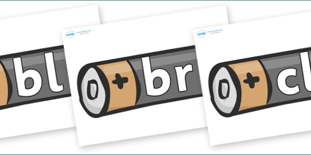 Initial Letter Blends on Battery - Initial Letters, initial letter, letter blend, letter blends, consonant, consonants, digraph, trigraph, literacy, alphabet, letters, foundation stage literacy