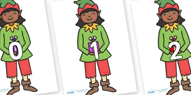 Numbers 0-100 on Elves - 0-100, foundation stage numeracy, Number recognition, Number flashcards, counting, number frieze, Display numbers, number posters