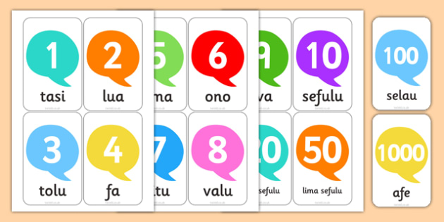 Numbers in Samoan Flashcards - nz, new zealand, numbers, samoan, flash cards, flashcards