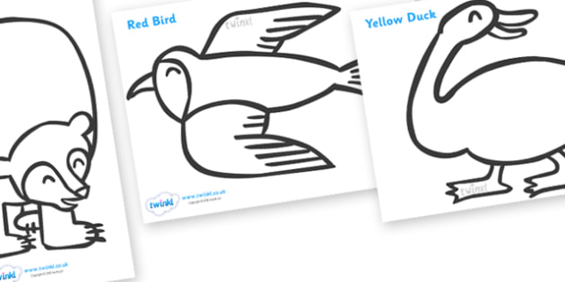 Colouring Sheets to Support Teaching on Brown Bear, Brown Bear - Brown Bear, Brown Bear, Bill Martin,  red bird, yellow duck, blue horse, green frog, purple cat, colours, animals, animal names, story, story book, story book resources, story sequencin