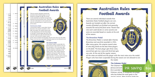 Australian Rules Football Awards Differentiated Comprehension Challenge Sheet