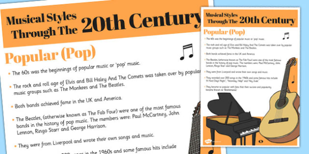 Musical Styles Through the 20th Century: Popular Information Poster
