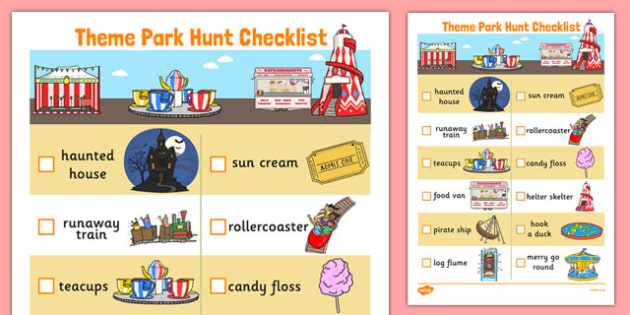 Theme Park Hunt Checklist - theme park, hunt, checklist, activity, game, items
