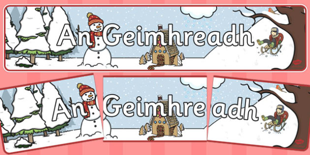 Winter Irish Display Banner - irish, winter, irish, display banner, display, Gaeilge