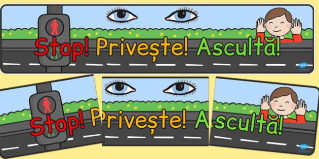 Banner, Pstop, Priveste, Asculta - reguli de circulatie, décor , Romanian