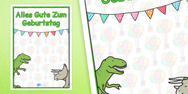 German Happy Birthday Posters Dinosaur Themed - german, posters