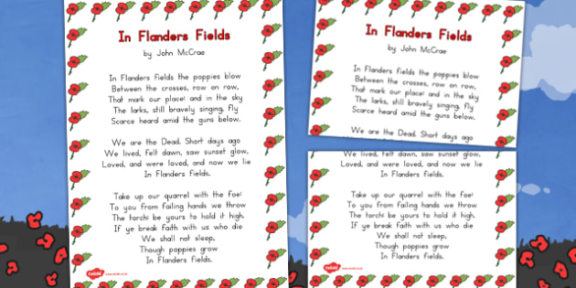 Remembrance Day Poem In Flanders Fields A3 Poster - australia