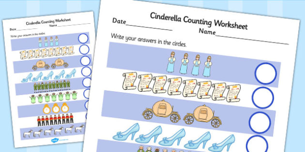 Cinderella Counting Sheet - cinderella, counting, count, sheet