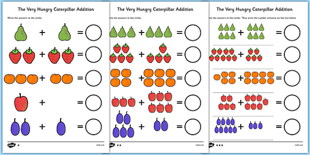 Differentiated Addition Activity Sheet to Support Teaching on The Very Hungry Caterpillar - counting, addition, adding, more than, numbers, the Very Hungry Caterpillar,  Eric Carle, resources, Hungry Caterpillar, life cycle of a butterfly, days of th