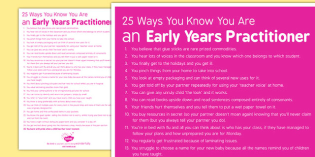 25 Ways You Know You Are an Early Years Practitioner - early years