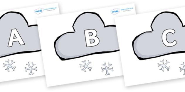 A-Z Alphabet on Weather Symbols (Snow) - A-Z, A4, display, Alphabet frieze, Display letters, Letter posters, A-Z letters, Alphabet flashcards
