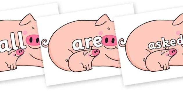 Tricky Words on Hullabaloo Pigs to Support Teaching on Farmyard Hullabaloo - Tricky words, DfES Letters and Sounds, Letters and sounds, display, words