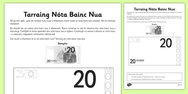 Tarraing Nóta Bainc Nua - bank note, euro, design, money, Gaeilge, Irish, activity sheet