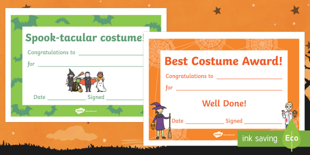Halloween Costume Certificates