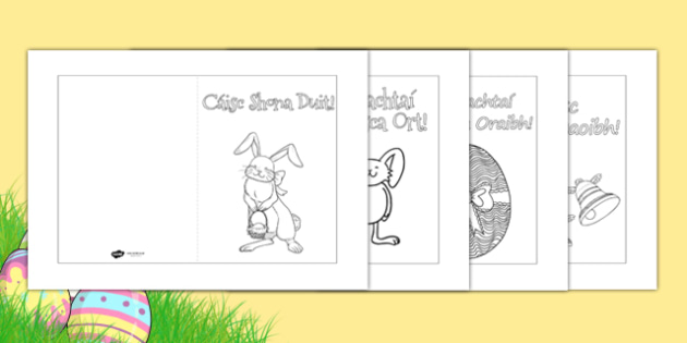 Easter Card Templates Irish Gaeilge - Cártaí Cásca - easter, easter card, card templates, irish easter cards, gaeilge, an chaisc, cartai casca