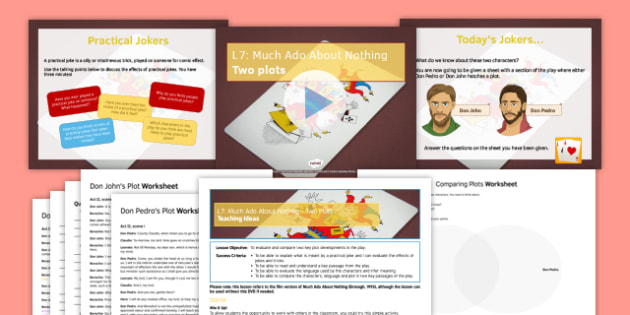Much Ado About Nothing Lesson Pack 7: Two Plots - much ado about nothing, l7, lesson pack, pack