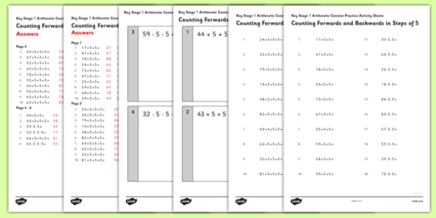 KS1 Arithmetic Content Activity Sheet Pack Counting Forwards and Backwards in Steps of 5 - Maths, KS1, Key Stage 1, Arithmetic, counting, worksheet
