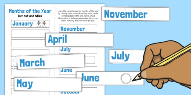 Months of the Year Cut and Stick Ordering Activity - ordering