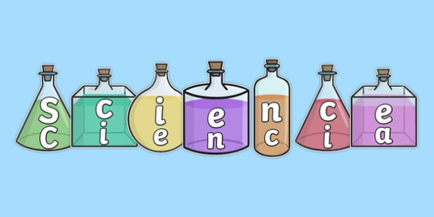 Science on Science Bottles Display Cut Outs Spanish Translation - spanish, science, display