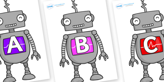 A-Z Alphabet on Robots - A-Z, A4, display, Alphabet frieze, Display letters, Letter posters, A-Z letters, Alphabet flashcards