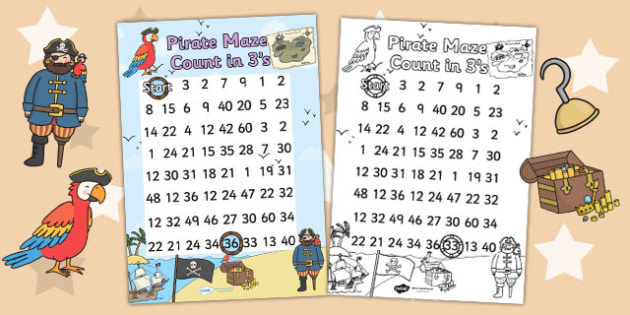 Pirate Themed Counting in 3s Maze Worksheet - pirates, count